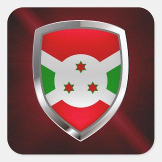 Adesivo Quadrado Emblema de Burundi Mettalic