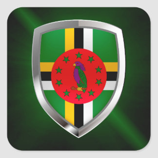 Adesivo Quadrado Emblema de Dominica Mettalic
