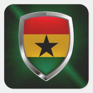 Adesivo Quadrado Emblema de Ghana Mettalic