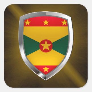 Adesivo Quadrado Emblema de Grenada Mettalic