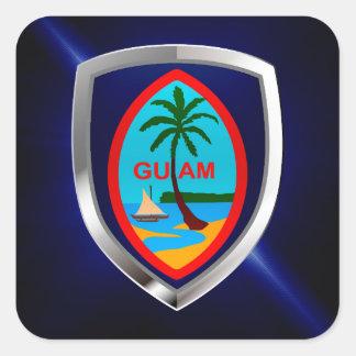 Adesivo Quadrado Emblema de Guam Mettalic