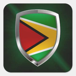 Adesivo Quadrado Emblema de Guyana Mettalic