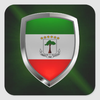 Adesivo Quadrado Emblema de Mettalic da Guiné Equatorial
