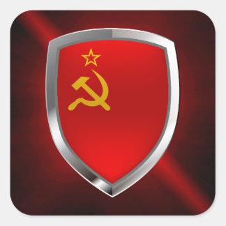 Adesivo Quadrado Emblema de Mettalic da união de Sovietic