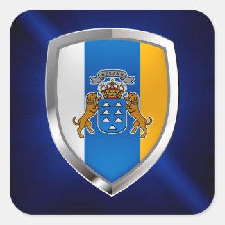 Adesivo Quadrado Emblema de Mettalic das Ilhas Canárias