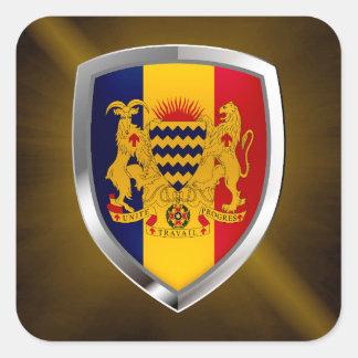 Adesivo Quadrado Emblema de República do Tchad Mettalic