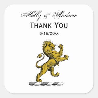 Adesivo Quadrado Emblema ereto C da crista do leão heráldico