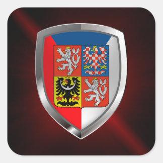 Adesivo Quadrado Emblema metálico da república checa