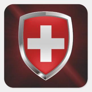Adesivo Quadrado Emblema metálico da suiça