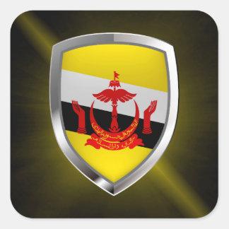 Adesivo Quadrado Emblema metálico de Brunei