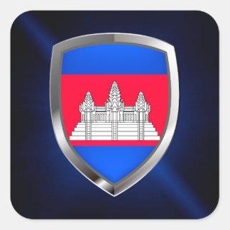 Adesivo Quadrado Emblema metálico de Cambodia