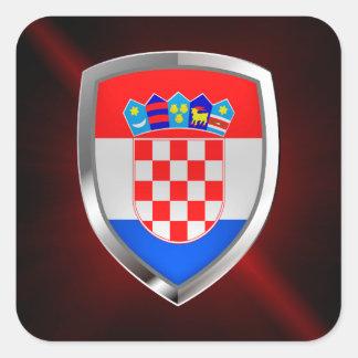 Adesivo Quadrado Emblema metálico de Croatia