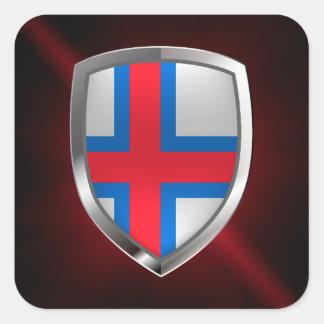Adesivo Quadrado Emblema metálico de Faroe Island