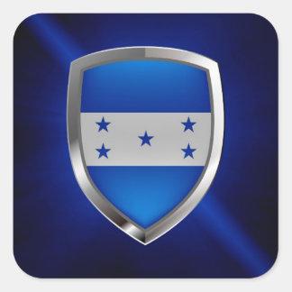 Adesivo Quadrado Emblema metálico de Honduras