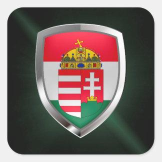 Adesivo Quadrado Emblema metálico de Hungria