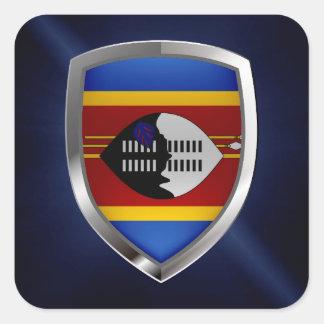 Adesivo Quadrado Emblema metálico de Suazilândia