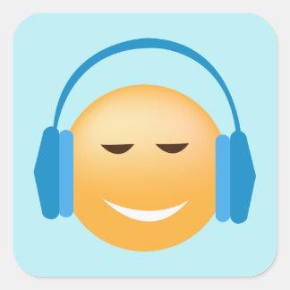 Adesivo Quadrado Emoji com fones de ouvido