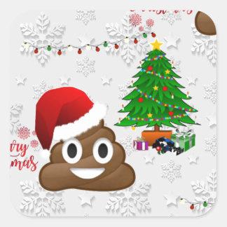 Adesivo Quadrado emoji do poo do Feliz Natal