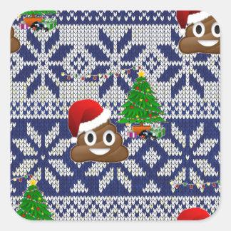 Adesivo Quadrado emoji feio do tombadilho da camisola do Natal