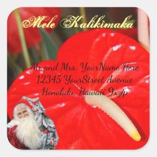 Adesivo Quadrado Endereço do Natal de Mele Kalikimaka Papai Noel