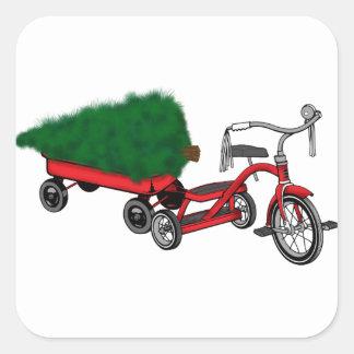 Adesivo Quadrado entrega da árvore de Natal