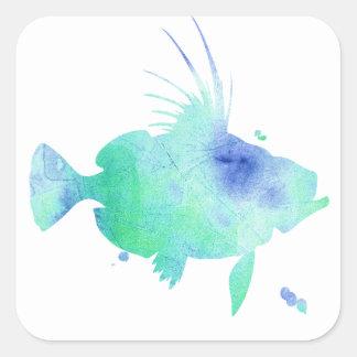 Adesivo Quadrado envolvimento do aqua dos peixes do oceano