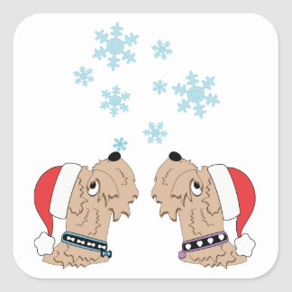 Adesivo Quadrado Envolvimento Wheaten do Natal de Terrier