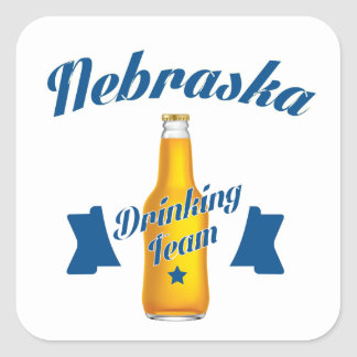 Adesivo Quadrado Equipe do bebendo de Nebraska