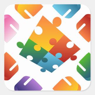 Adesivo Quadrado Equipe do quebra-cabeça