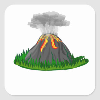 Adesivo Quadrado erupção e fogo do vulcão