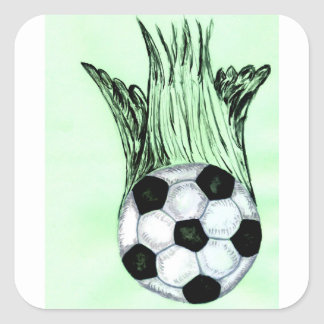 Adesivo Quadrado Esboço 4 da bola de futebol