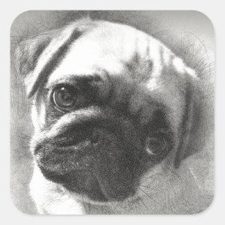 Adesivo Quadrado Esboço do cão de filhote de cachorro do Pug