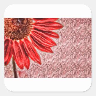 Adesivo Quadrado Esboço vermelho do girassol
