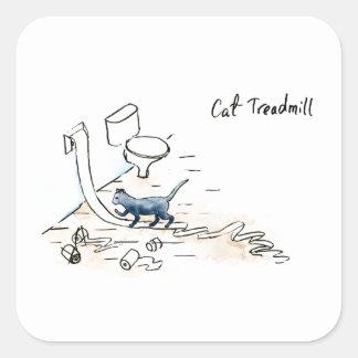 Adesivo Quadrado Escada rolante cómica do gato