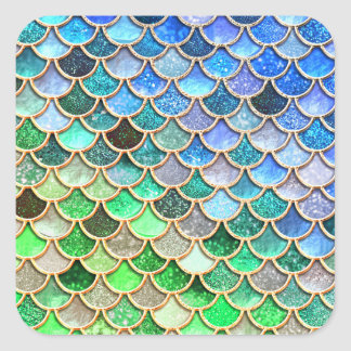 Adesivo Quadrado Escalas brilhantes azuis verdes da sereia do