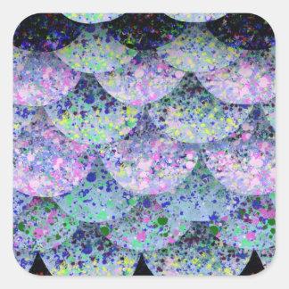 Adesivo Quadrado Escalas de papel polvilhadas da sereia
