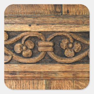 Adesivo Quadrado escultura de madeira do painel