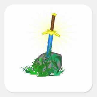 Adesivo Quadrado Espada na pedra