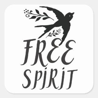 Adesivo Quadrado espírito livre com o pássaro bonito da andorinha