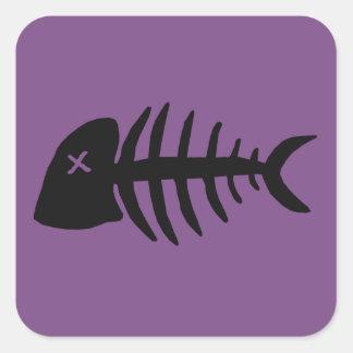Adesivo Quadrado esqueleto inoperante dos peixes