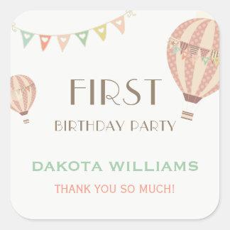 Adesivo Quadrado Estamenha Pastel & aniversário quente dos balões