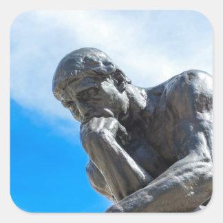 Adesivo Quadrado Estátua do pensador de Rodin