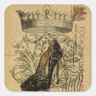 Adesivo Quadrado estilete da rainha da forma da coroa do vintage