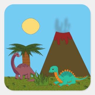 Adesivo Quadrado Estilo de Dino