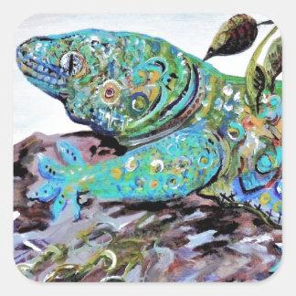 Adesivo Quadrado Estilo do art deco do lagarto de Nova Caledônia