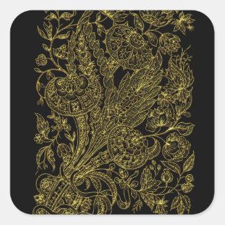 Adesivo Quadrado estilo floral dourado do embutimento