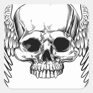 Adesivo Quadrado Estilo retro voado do Woodcut do vintage do crânio