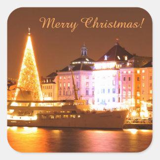 Adesivo Quadrado Éstocolmo, suecia no Natal na noite