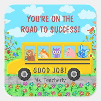 Adesivo Quadrado Estrada bonito do ônibus da escola primária à