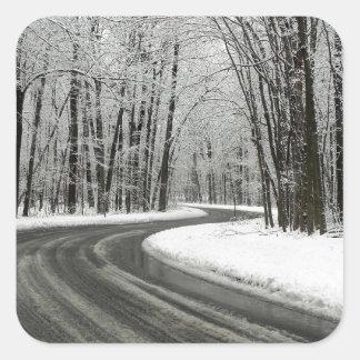 Adesivo Quadrado Estrada de enrolamento curvada neve